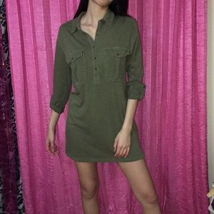 Green Army Dress Pocket Front Cute Casual Grunge